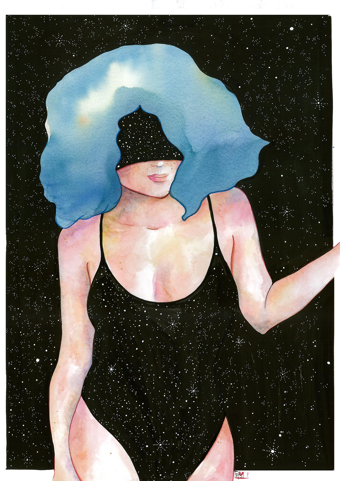 Mujer Estrellas Azul