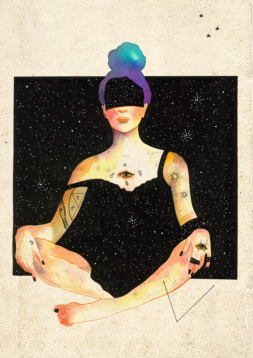 Mujer sentada estrellas