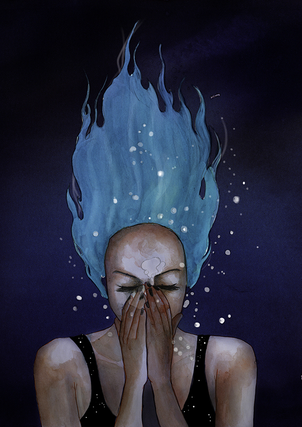 Mujer bajo el agua